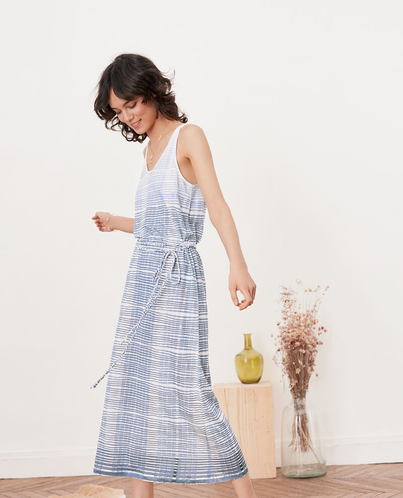 Vestido de lino de longitud media Tie&dye washed blue Fieto