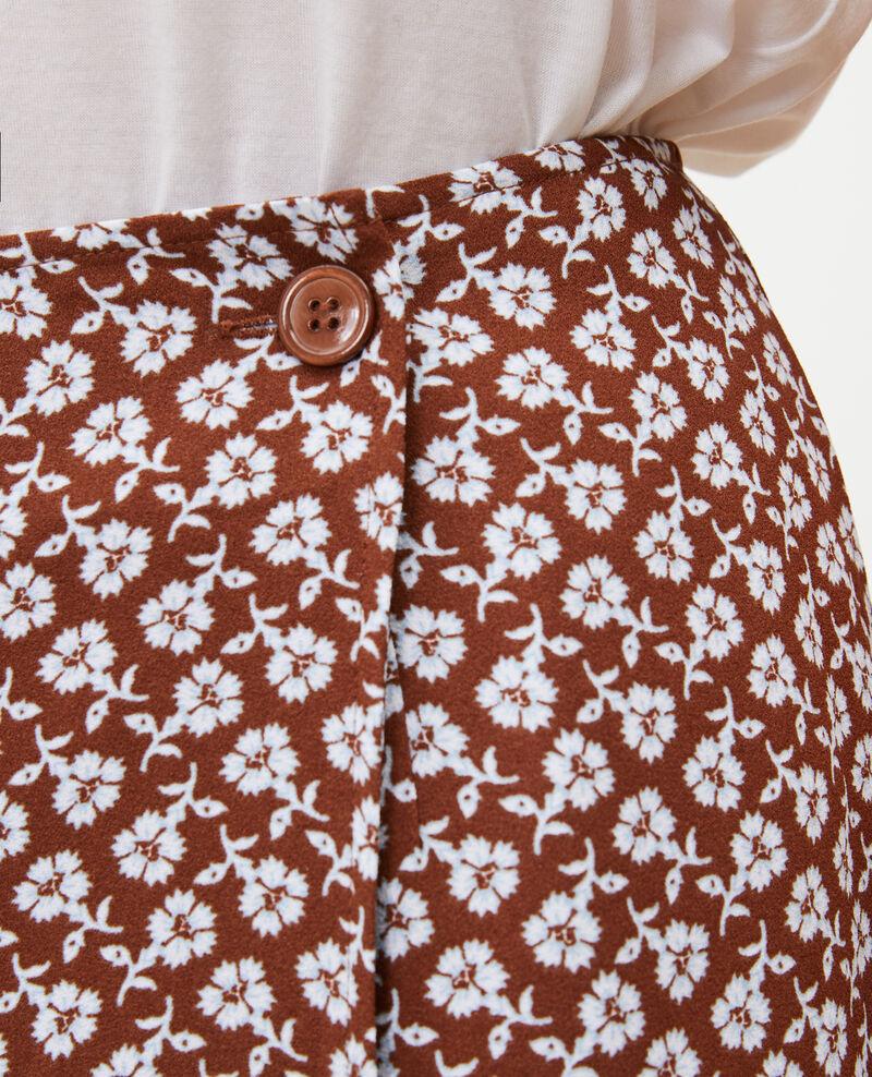 Falda recta cruzada con estampado floral Print fleurettes tortoise shell Matza