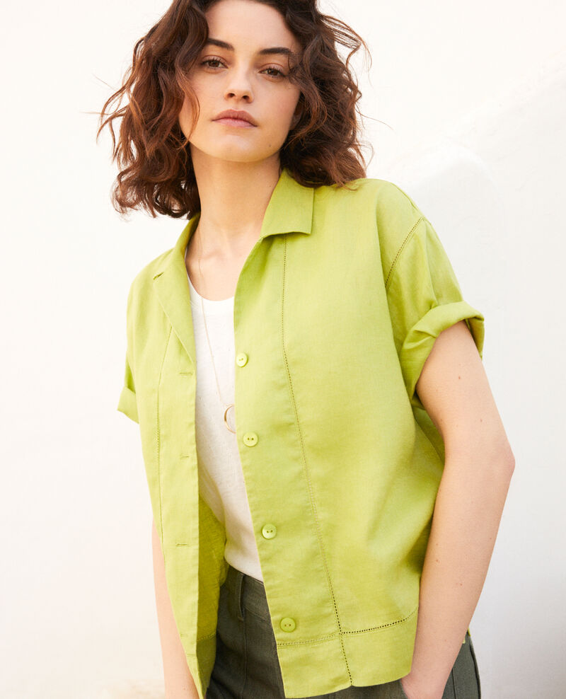 Camisa con cuello abierto de lino Lime green Ilage