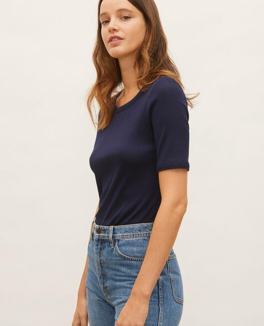 Camiseta fino canalé de algodón mercerizado MARITIME BLUE