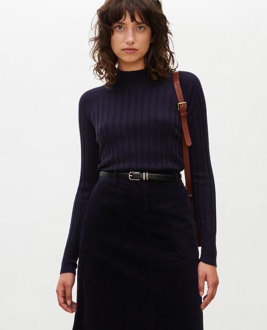 Jersey de canalé con cuello subido de lana merino NIGHT SKY