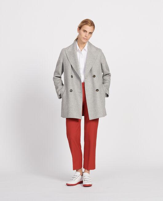Abrigo tipo chaquetón de lana doble cara LIGHT GREY