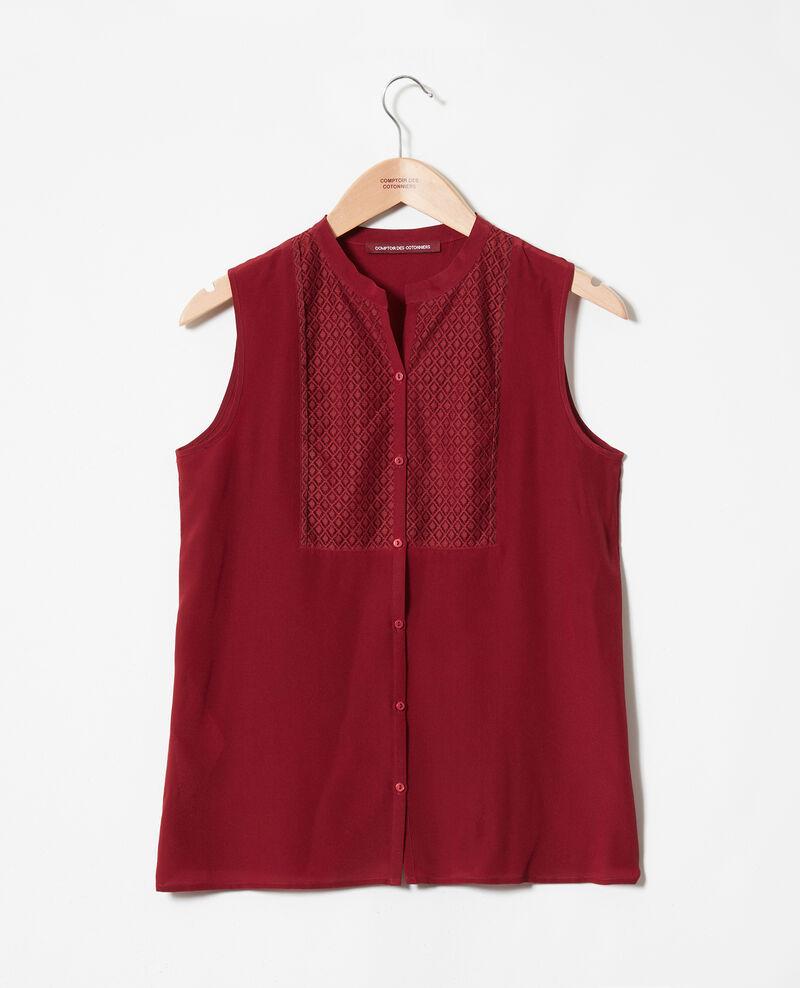 Blusa con pechera de encaje de seda Cabernet Jandros
