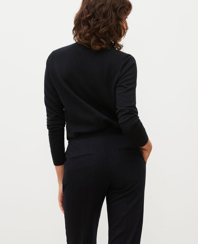 Jersey de lana merino con cuello subido Black beauty Malleville