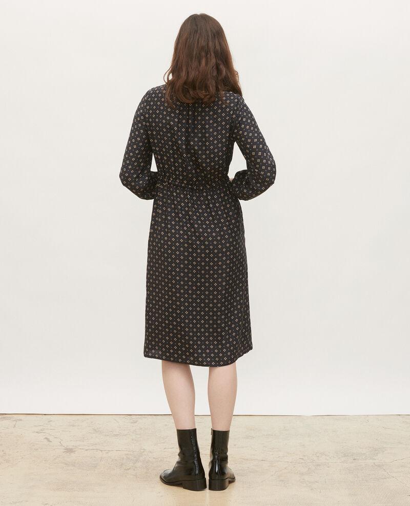 Vestido amplio de seda Print mosaique black Megrisa