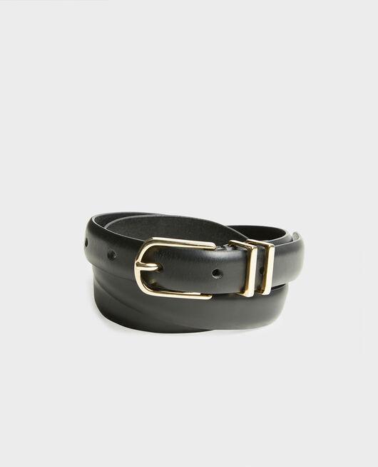 Cinturón de cuero con hebilla y presillas de metal dorado BLACK BEAUTY
