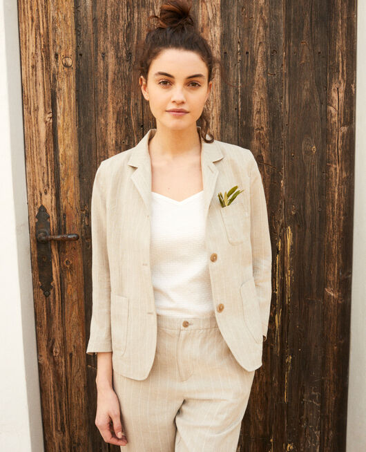 Chaqueta sastre NATURAL LINEN/OFF WHITE