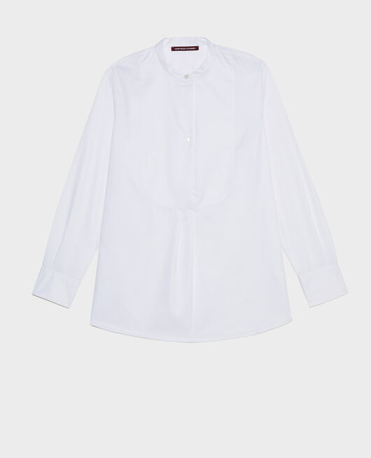 Camisa de algodón oversize con pechera BRILLIANT WHITE