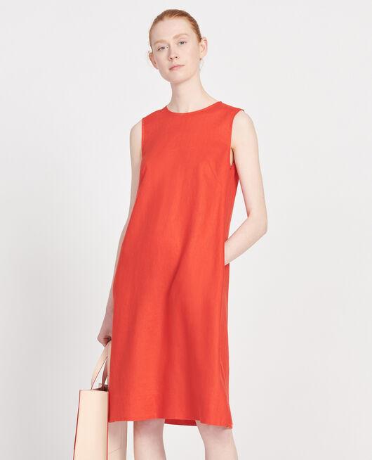 Vestido 100% de lino FIERY RED