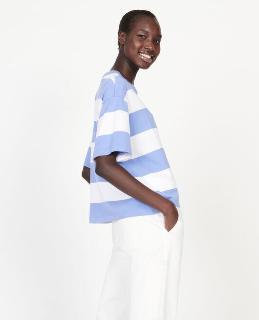 Camiseta rayada oversize de algodón mercerizado STR OPTICALWHITE PERSIANJEWELS