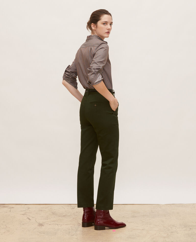 Pantalones chinos MARGUERITE, 7/8 tapered de algodón Military green Mezel