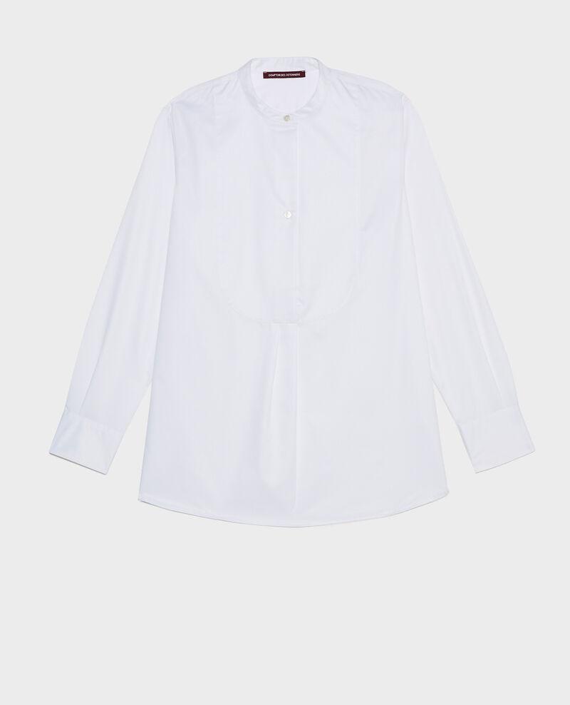 Camisa de algodón oversize con pechera Brilliant white Mime