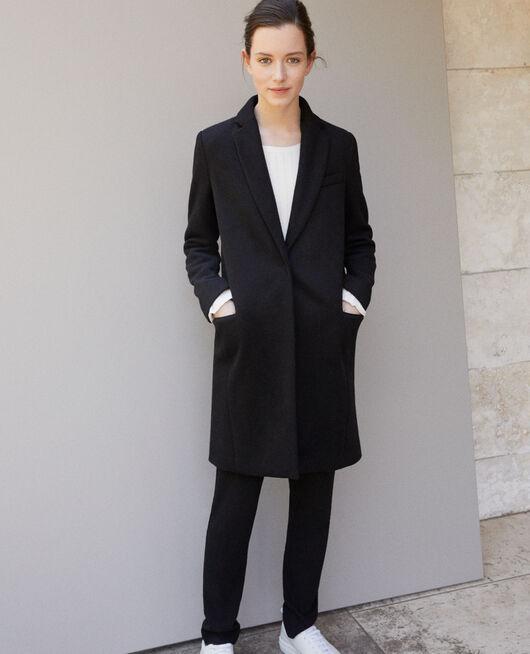 Abrigo con cuello de traje Negro