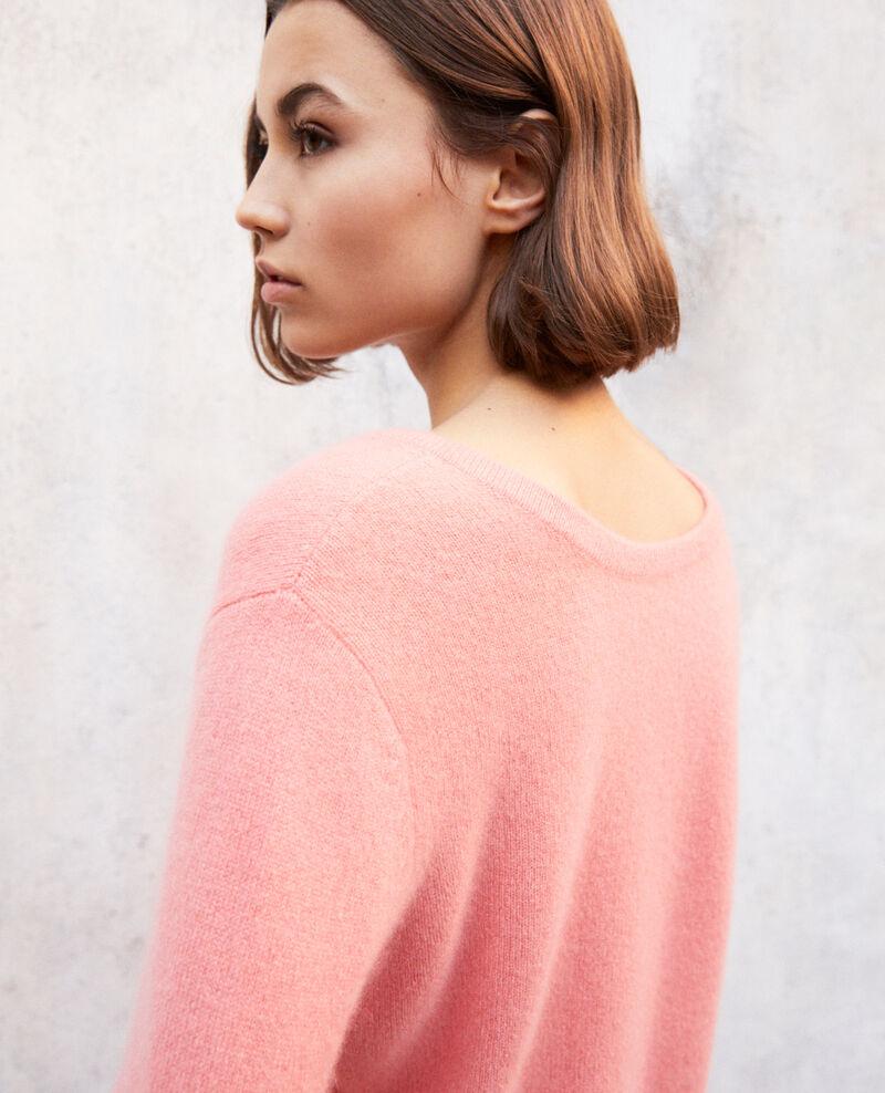 Jersey cuello redondo de cachemir Salmon pink Ixela