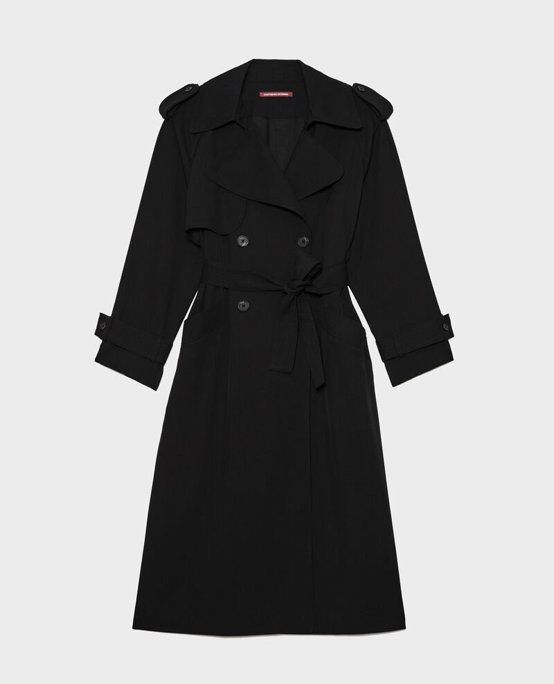 Trench oversize de lana fluida Black beauty Laiko