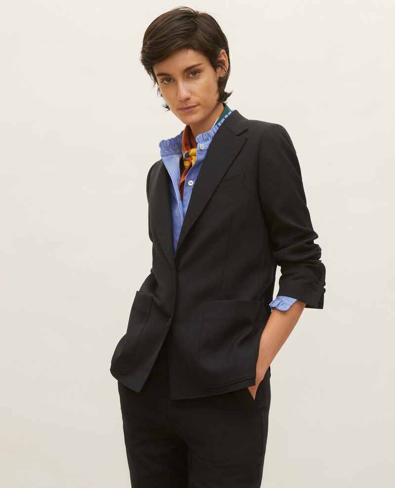 Blazer ligero de lana lisa Black beauty Luscade