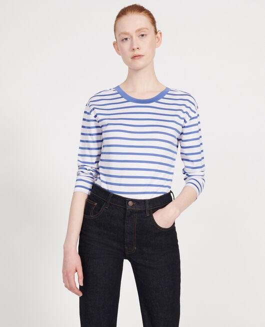 Camiseta de algodón STRIPES OPTICAL WHITE AMPARO BLUE