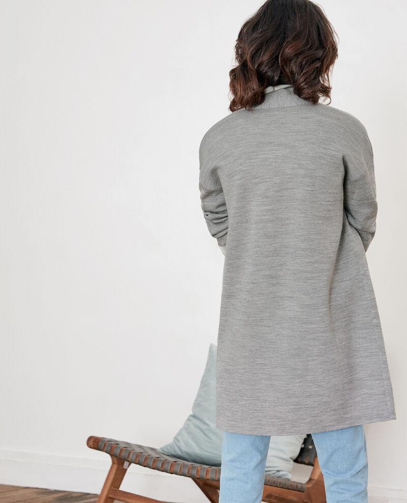 Cárdigan reversible de lana  Cement/off white Finger