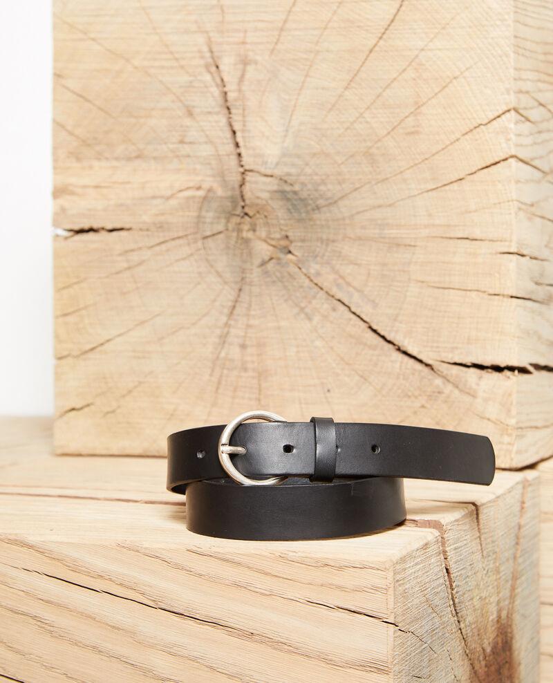 Cinturón de piel lisa tamaño grande Negro Girouette