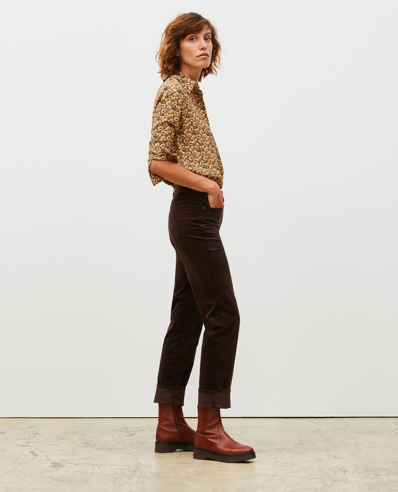 SLIM STRAIGHT - Jeans rectos de terciopelo liso 5 bolsillos Coffee bean Muillemin
