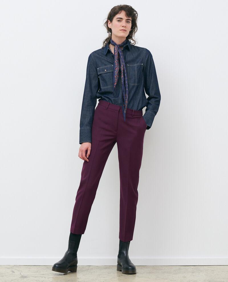 Pantalón MARGUERITE, 7/8 cigarette de lana Potent purple Noko