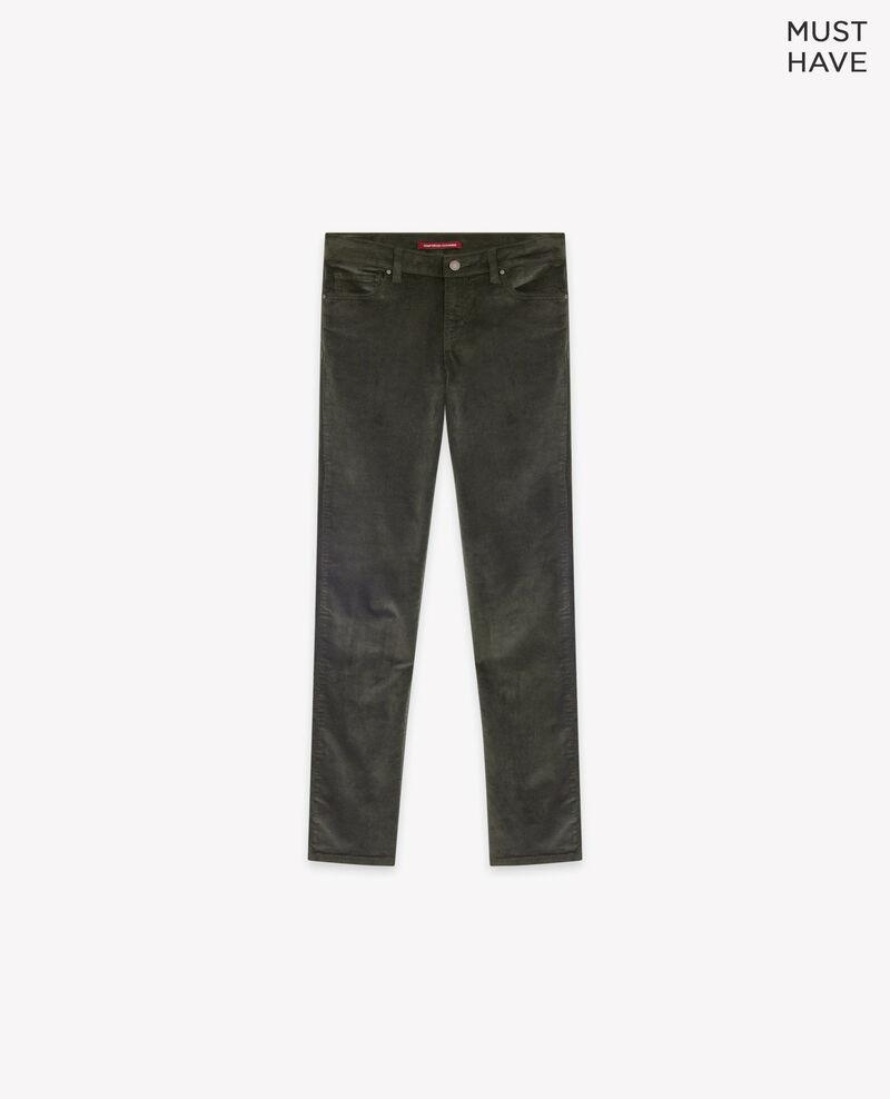 Pantalón cigarette de terciopelo stretch Deep green Decharpe