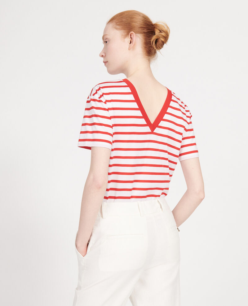 Camiseta de algodón egipcio Stripes optical white fiery red Lisou