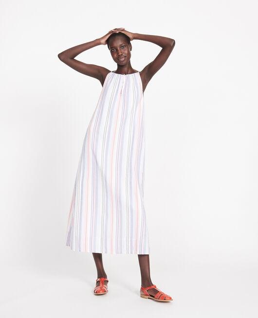 Vestido largo de algodón STRIPES MULTICO