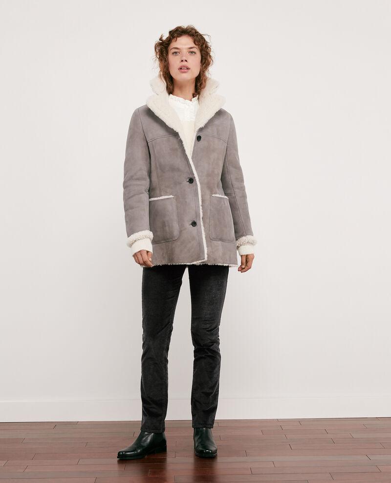 Abrigo de piel vuelta Light grey Dolotto