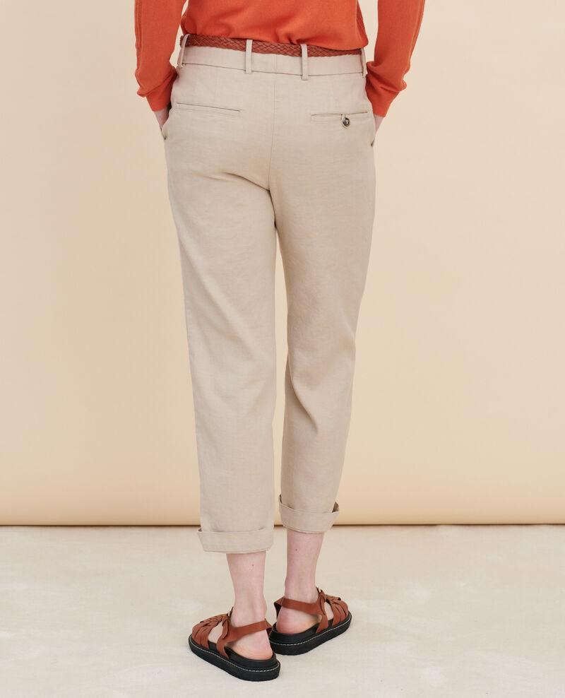 Pantalón de lino y algodón con longitud 7/8 Oxford tan Laiguillon