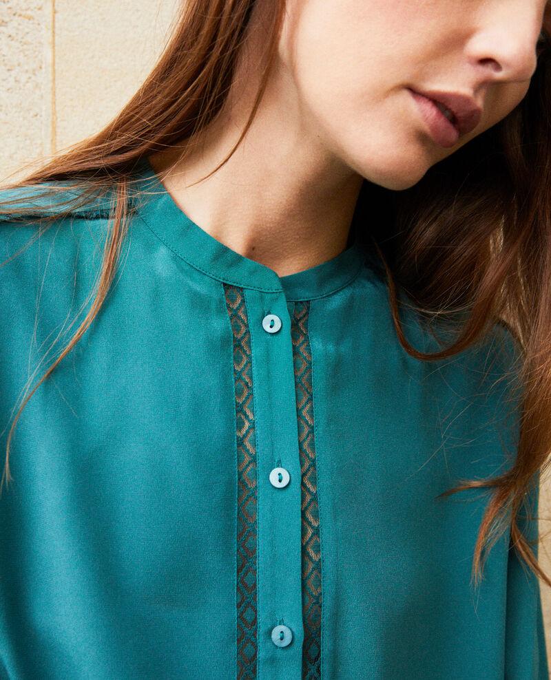 Blusa hecho de seda con detalle de encaje Mediteranea Javant