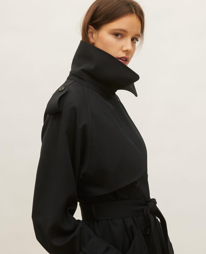 Trench oversize de lana fluida Black beauty Laiko