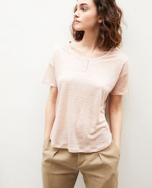 Camiseta brillante con lino PINK BEIGE