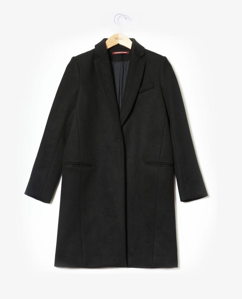 Abrigo con cuello de traje Negro 9vexpress