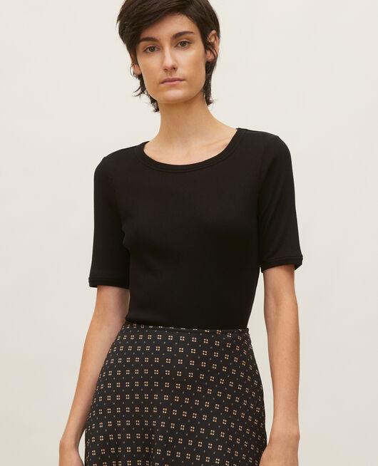 Camiseta fino canalé de algodón mercerizado BLACK BEAUTY