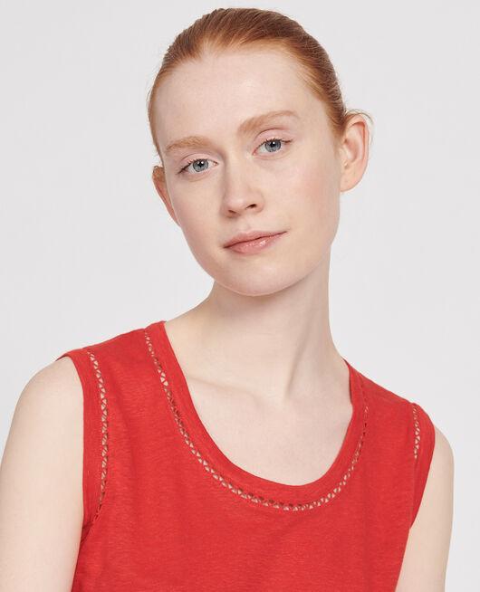 Camiseta de lino de jersey con tirantes FIERY RED