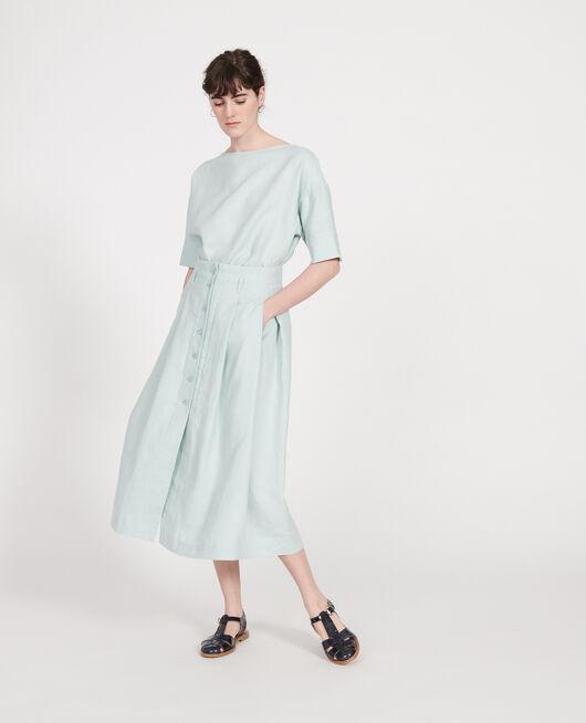 Falda larga de lino BLUE HAZE