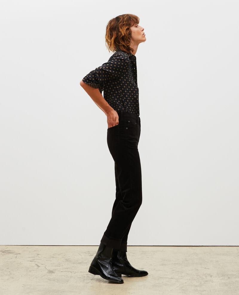 SLIM STRAIGHT - Jeans rectos de terciopelo liso 5 bolsillos Black beauty Muillemin