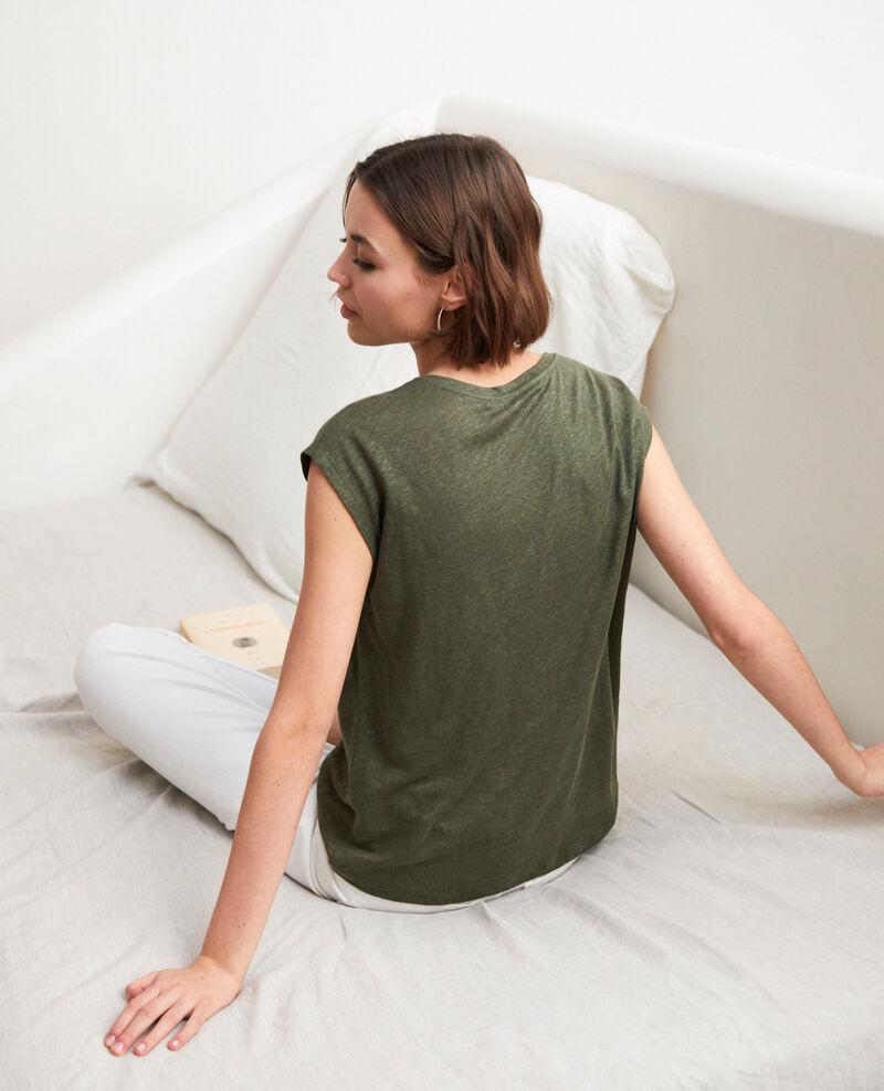 Camiseta de lino bordada Cheng olive Imomo