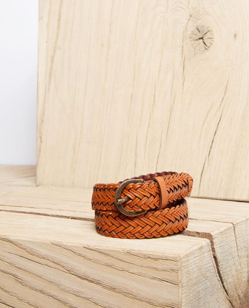 Cinturón trenzado de cuero talla grande Camel Ivoba
