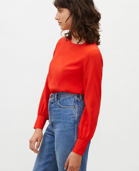 Blusa bordada de seda FIERY RED