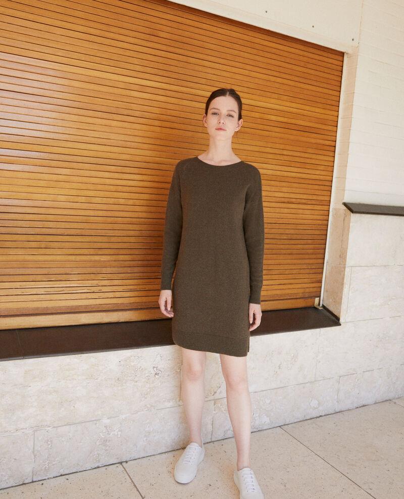 9bd788f6 Vestido de cachemir Olive night - Gervina | Comptoir des Cotonniers
