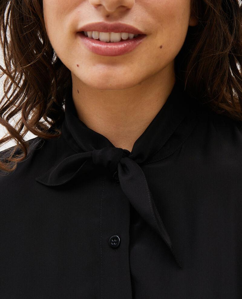 Blusa de seda con manga larga y cuello para atar Black beauty Margueray