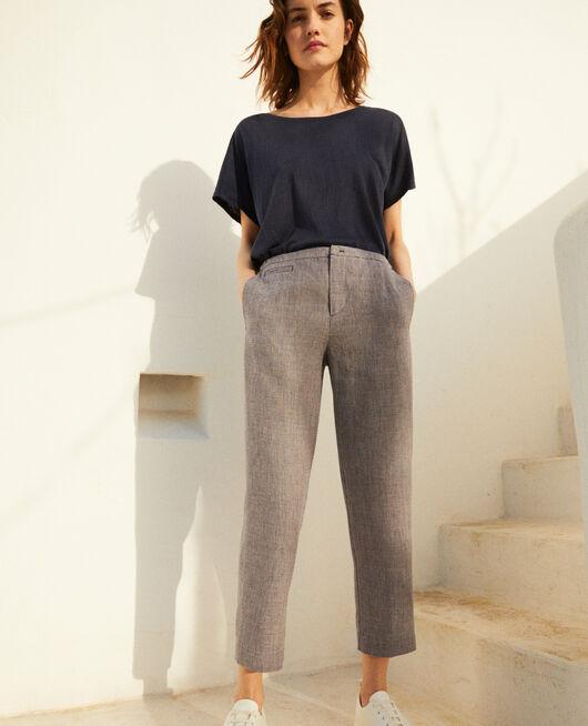 Pantalón corte carrot NATURAL LINEN/INK NAVY