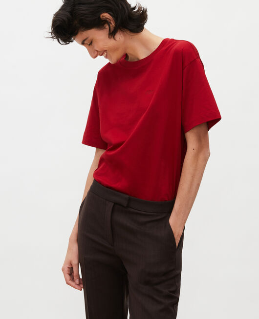 Camiseta oversize de algodón manga corta  ROYALE RED
