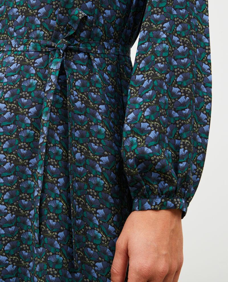 Vestido largo de seda con cinturón y cuello de pico Print artdeco darkgreen Marieuxa