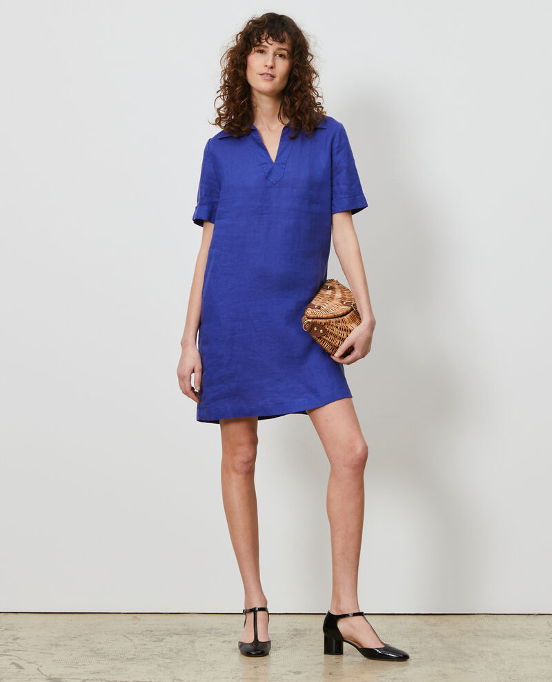 Vestido de lino estilo casaca marinera Royal blue Noailles