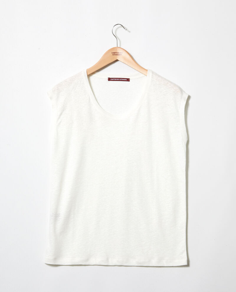 Camiseta de lino bordada Off white Imomo