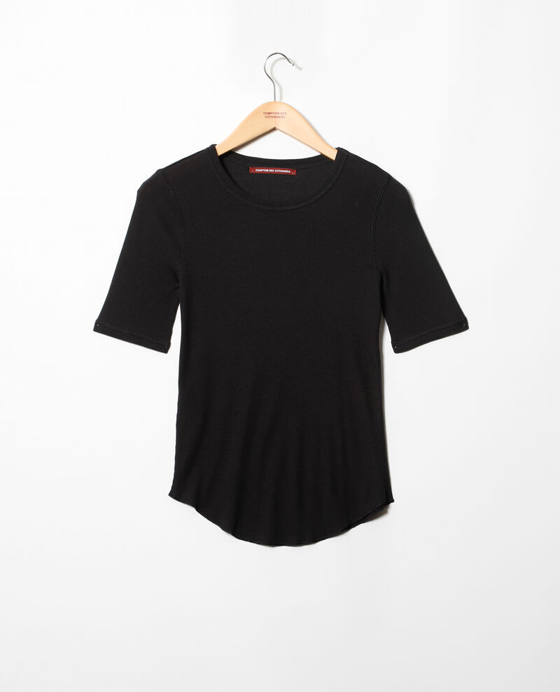 Camiseta canalé  Noir Ibabie