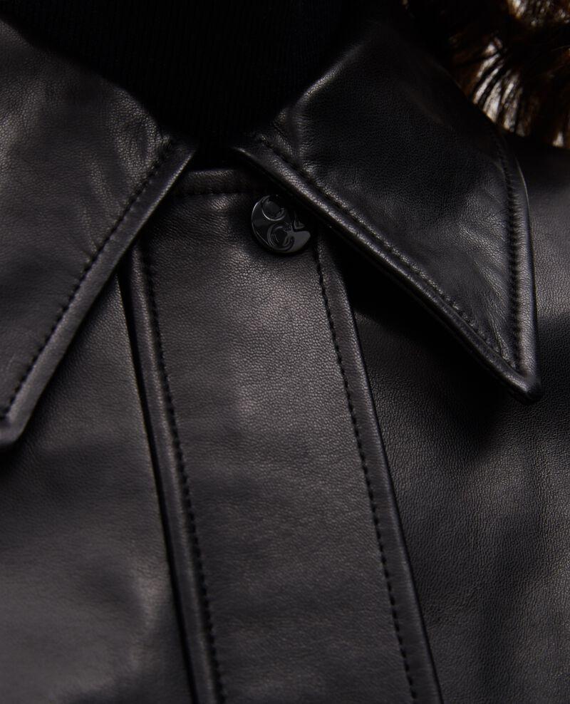 Cazadora con cremallera de cuero de cordero Black beauty Mettray